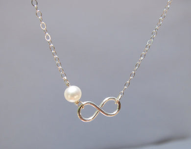 Freshwater Pearl Infinity Necklaces-Bridesmaid Gift Set of 5,6,7,8,9,10,11,12-Sterling Silver