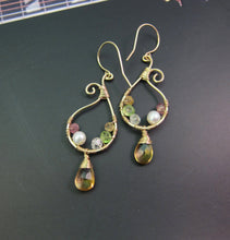 Wire Wrapped Multiple Gemstone Earrings-14K Gold Filled