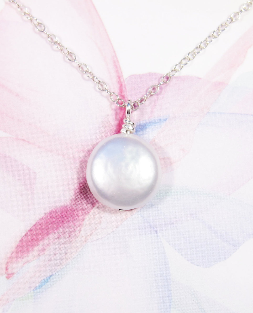 Natural Freshwater Coin Pearl Necklace-Bridesmaid Gift Set of 5,6,7,8,9,10,11,12-Sterling Silver