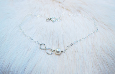 Freshwater Pearl Infinity Anklets-Bridesmaid Gift Set of 5,6,7,8,9,10,11,12-Sterling Silver