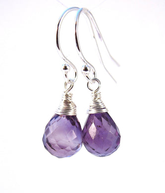 Wire Wrapped Purple Amethyst Earrings-Sterling Silver