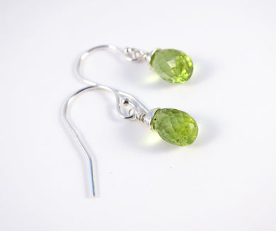 Green Peridot August Birthstone Earrings-Sterling Silver