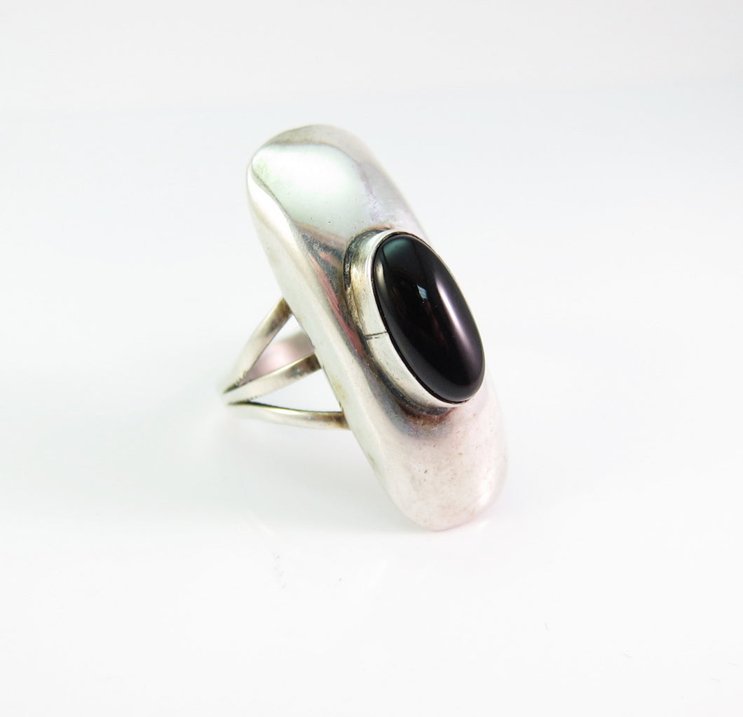 Vintage Native American Black Onyx Ring-Sterling Silver-Size 8.5