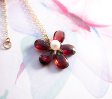 Red Garnet Flower Necklace-14K Gold-Rose Gold Filled
