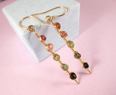 Watermelon Tourmaline Earrings-14k Gold-Rose Gold Filled