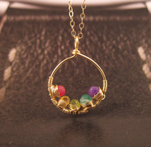 Gold Mother's Necklace with Birthstones-14K Gold-Rose Gold Filled