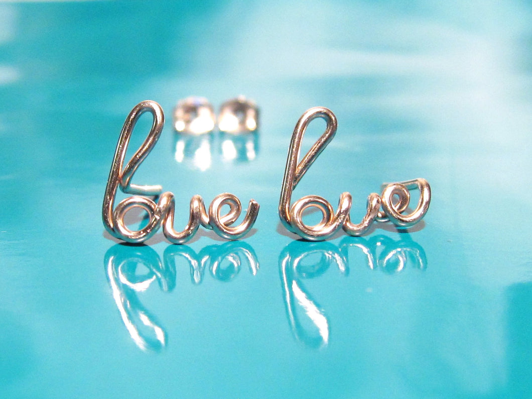 Gold Love Earrings-Rose Gold-Sterling Silver
