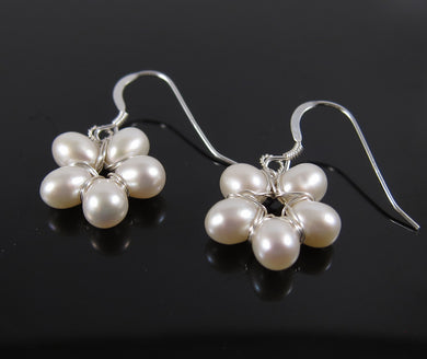 Natural Freshwater Pearl Flower Earrings-Sterling Silver
