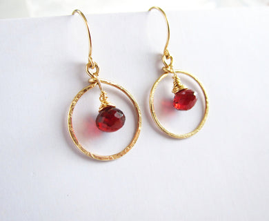 Wire Wrapped Red Garnet Earrings-14K Gold Filled