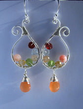 Wire Wrapped Gemstone Earrings-Moonstone Opal Citrine Peridot Aquamarine Garnet-Sterling Silver