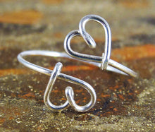 Wire Double Heart Ring-Sterling Silver-14K Gold-Rose Gold Filled