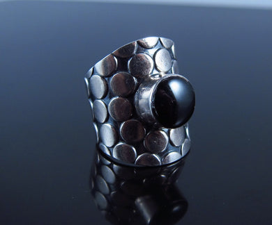 Vintage Native American Black Onyx Ring-Sterling Silver-Size 7