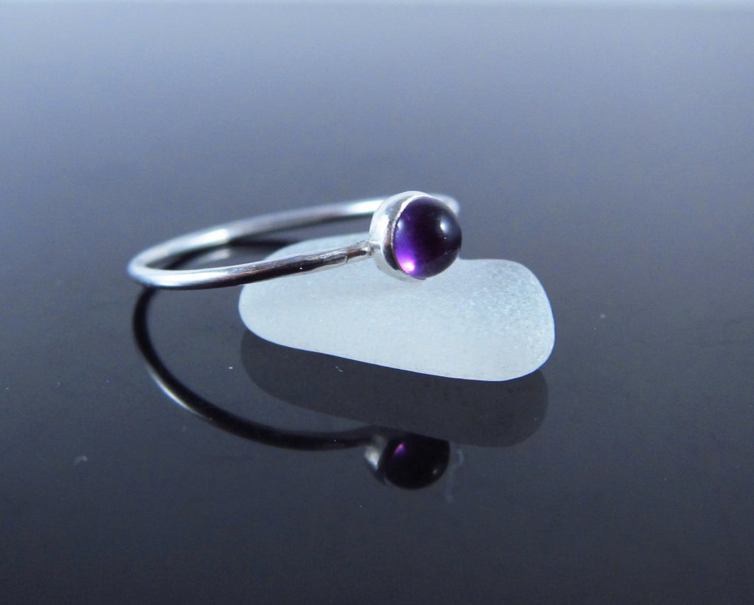 Dainty February Birthstone Ring Amethyst-Sterling Silver