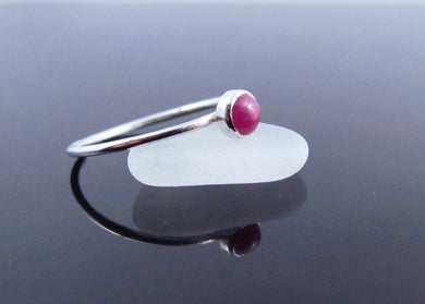 Genuine Red Ruby Birthstone Ring-Sterling Silver
