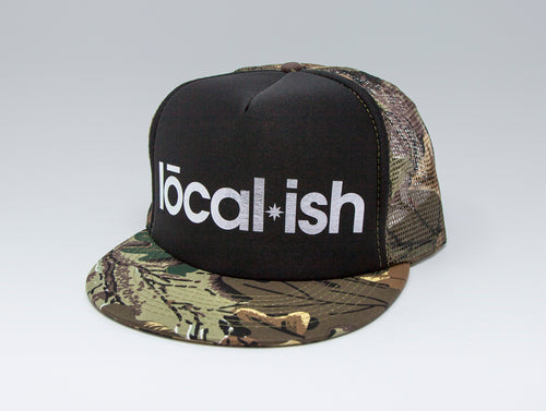 Localish Foil Printed Trucker Hat - Camo & Silver - right