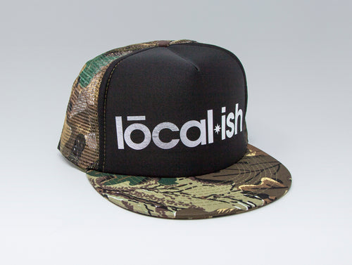 Localish Foil Printed Trucker Hat - Camo & Silver - left