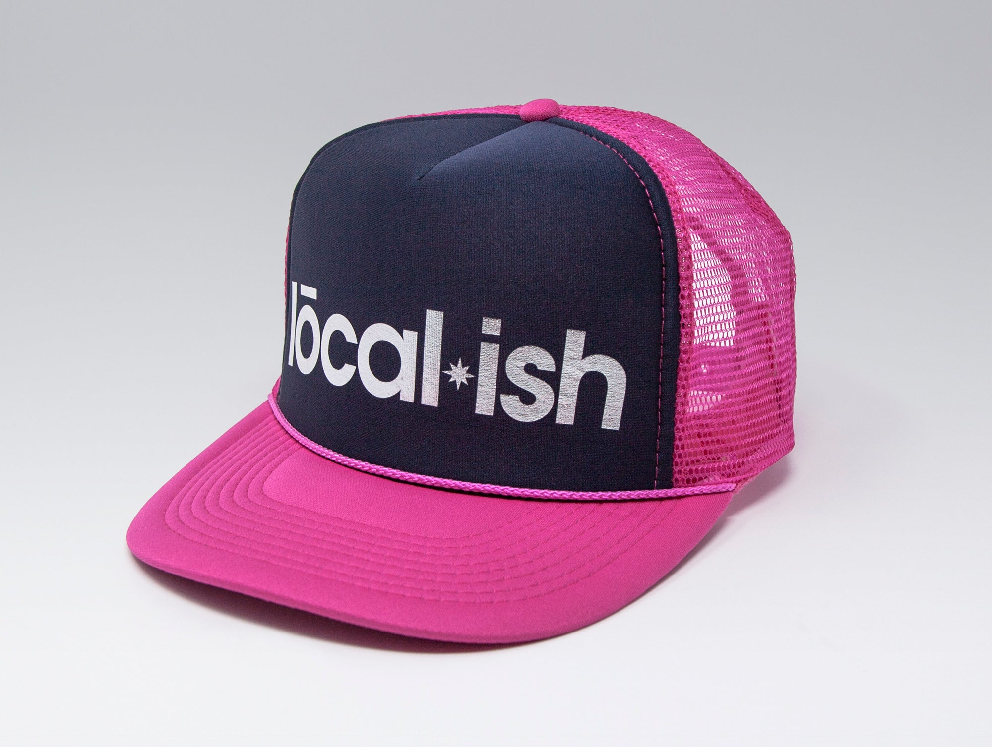 Localish Foil Printed Trucker Hat - Navy & Magenta - right