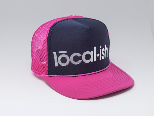 Localish Foil Printed Trucker Hat - Navy & Magenta - left