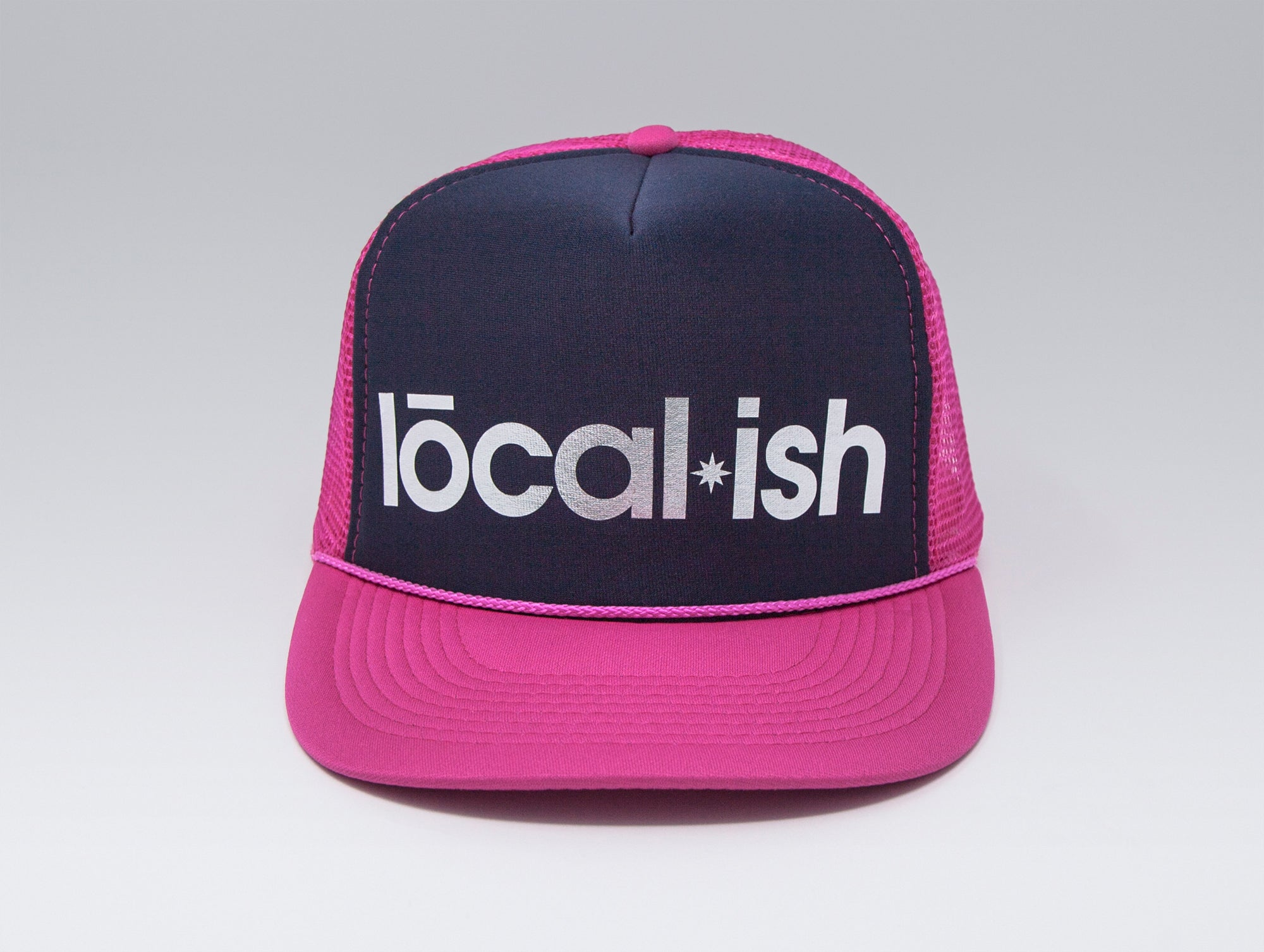Localish Foil Printed Trucker Hat - Navy & Magenta - center