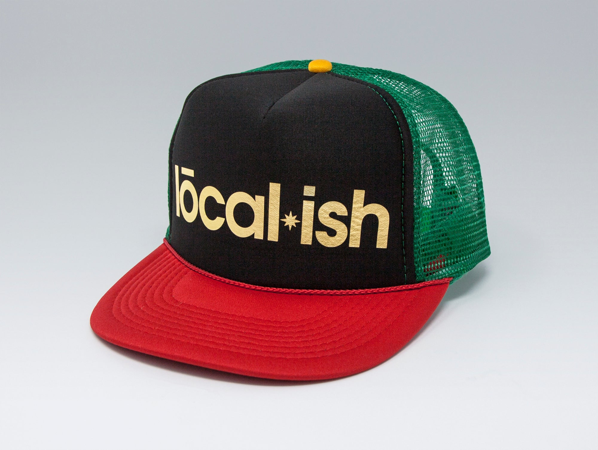 Localish Foil Printed Trucker Hat - Rasta - right