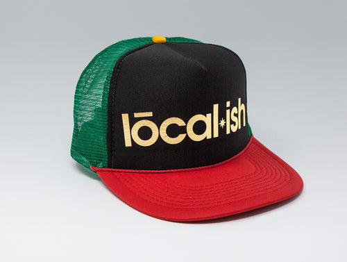 Localish Foil Printed Trucker Hat - Rasta - left