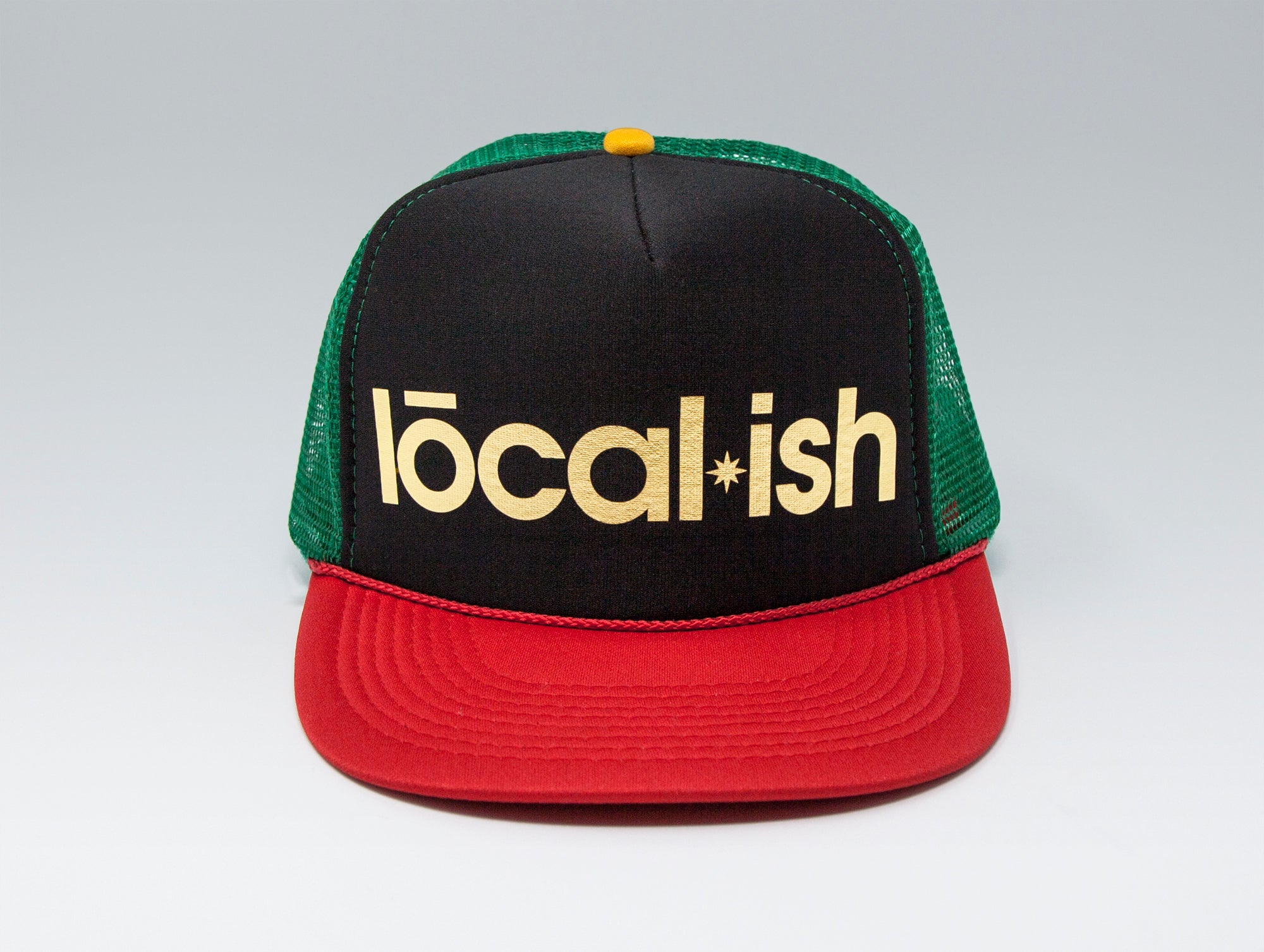Localish Foil Printed Trucker Hat - Rasta - center
