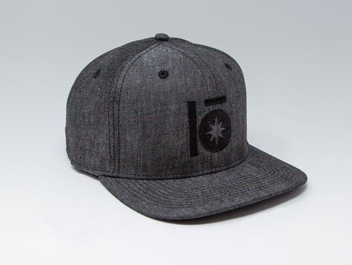 Localish Lo Star Classic Snapback Hat - Denim & Black - left