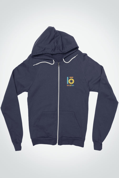 Global Front Zip Hoodie - Navy