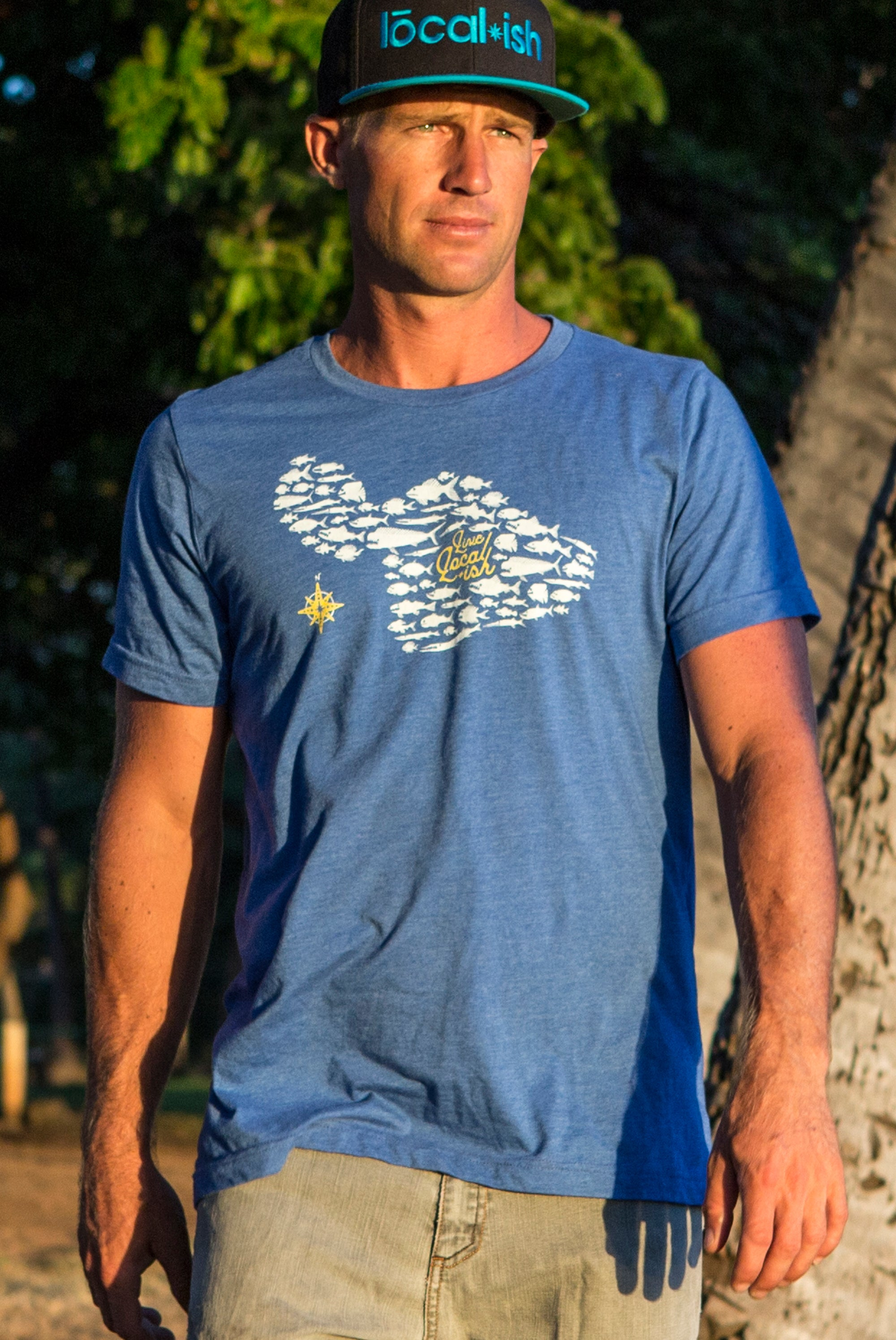 Heather Blue Royal Surfing T Shirt for Men