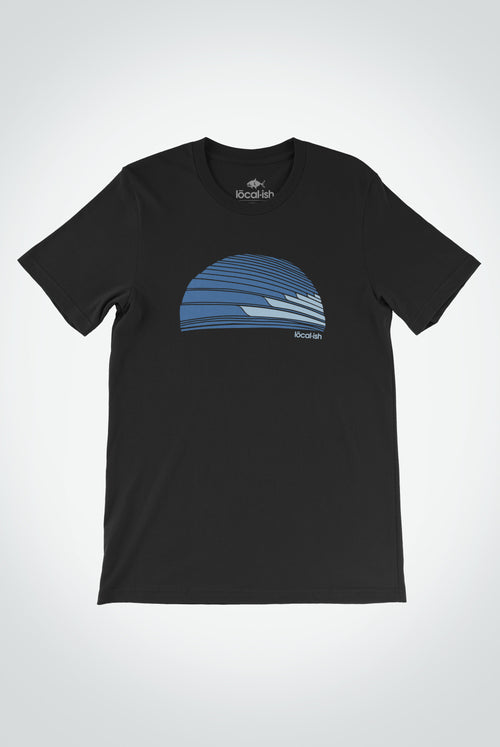 Localish Men's Tasty Waves Tee - Black Surfing T Shirt for Men
