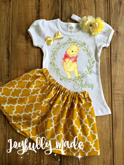 Personalized Winnie the Pooh Inspired Three Piece Skirt Set