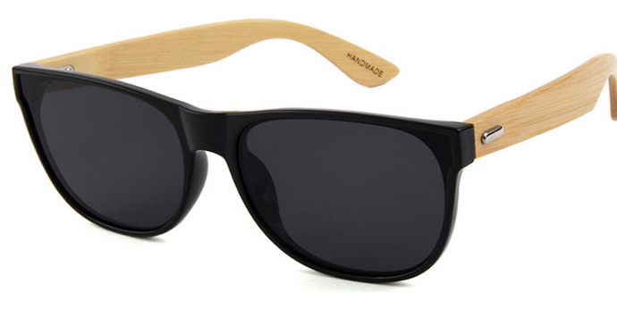 Black frame sunglasses with natural bamboo temple arms and smoke lenses.