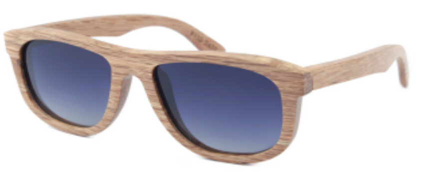 Beige wood frame sunglasses with Gradient-Gray polarized lenses.