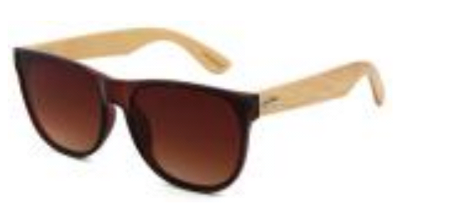 Clear brown bamboo sunglasses