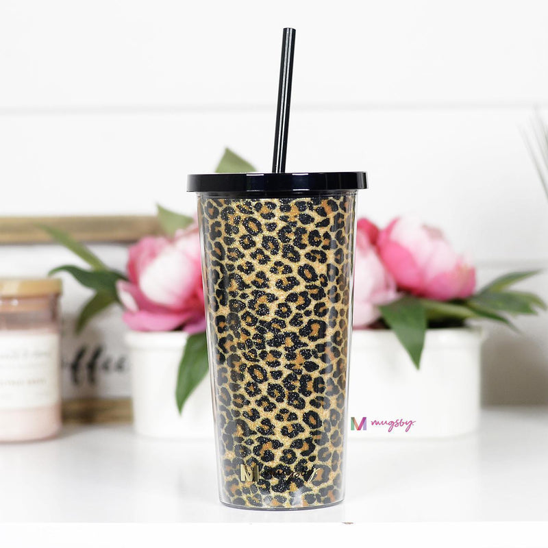Brown Leopard Tumbler with Straw -  kiss-my-chic-boutique.myshopify.com