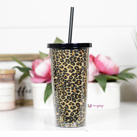 Brown Leopard Tumbler with Straw - Kiss My Chic Boutique