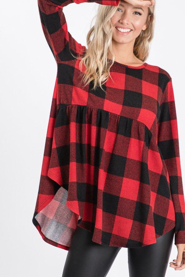 Buffalo Plaid Baby Doll Top -  kiss-my-chic-boutique.myshopify.com