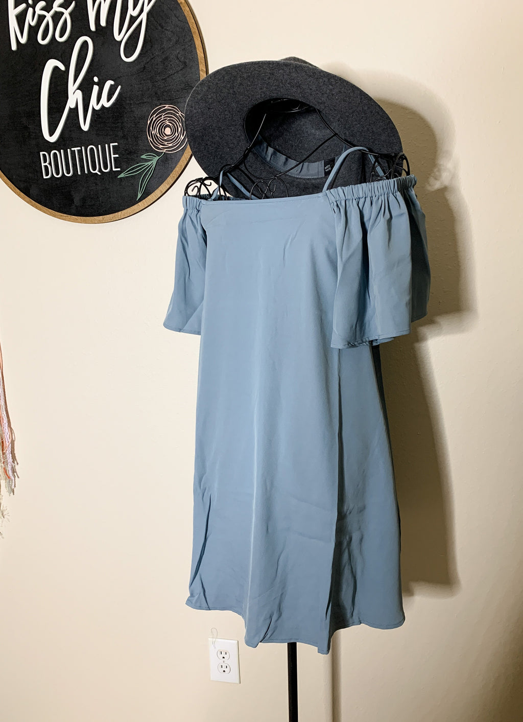 Dusty Blue Off the Shoulder Dress - Kiss My Chic Boutique