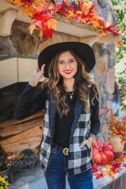 Harper Buffalo Plaid Vest -  kiss-my-chic-boutique.myshopify.com