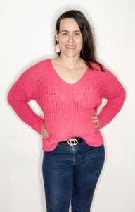 Hot Pink Light Sweater - Kiss My Chic Boutique