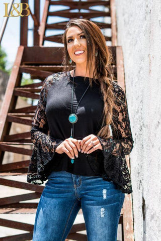 Lacy Bell Sleeve Top - Kiss My Chic Boutique