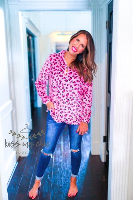 Leah Pink Leopard Fleece Pullover -  kiss-my-chic-boutique.myshopify.com