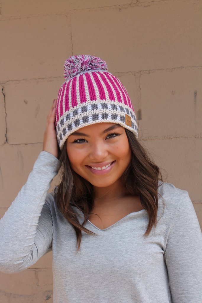 Pink Striped Knit Hat - Kiss My Chic Boutique