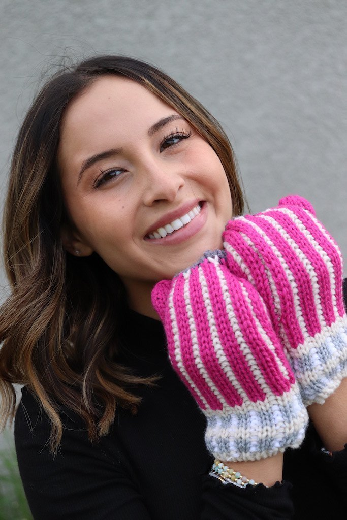 Pink Striped Mittens -  kiss-my-chic-boutique.myshopify.com