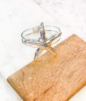Silver Starfish Bangle - Kiss My Chic Boutique