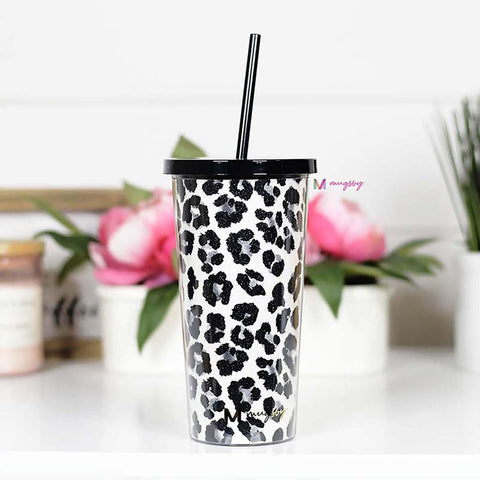 Snow Leopard Tumbler with Straw - Kiss My Chic Boutique