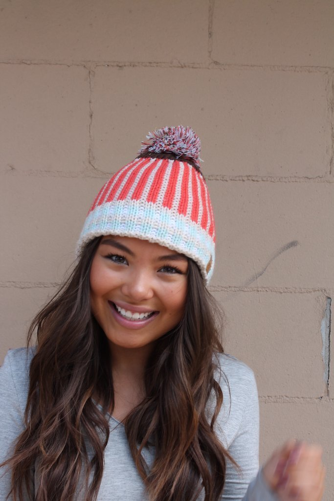 Tangerine Striped Knit Hat - Kiss My Chic Boutique