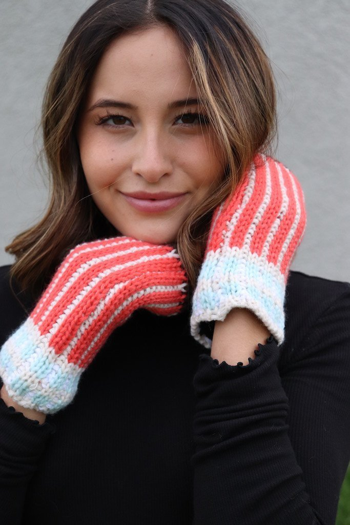 Tangerine Striped Mittens -  kiss-my-chic-boutique.myshopify.com