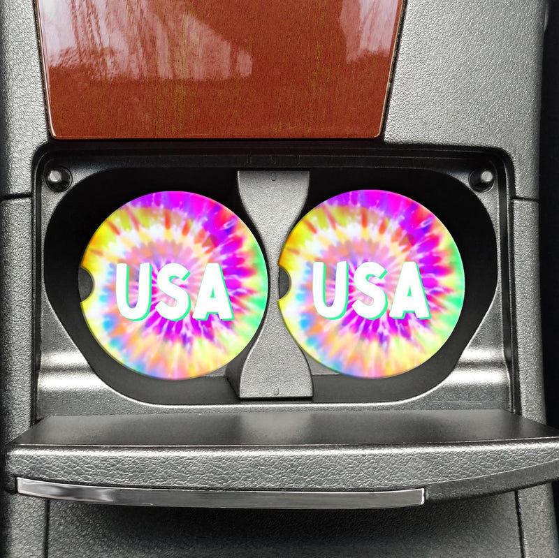 USA - Tie Dye - Car Coasters -  kiss-my-chic-boutique.myshopify.com