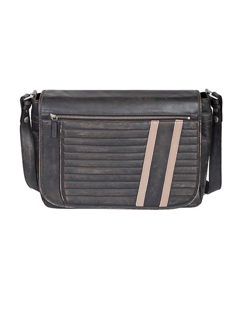 Scully Sanded Calf Leather Crossbody Messenger Brief Black